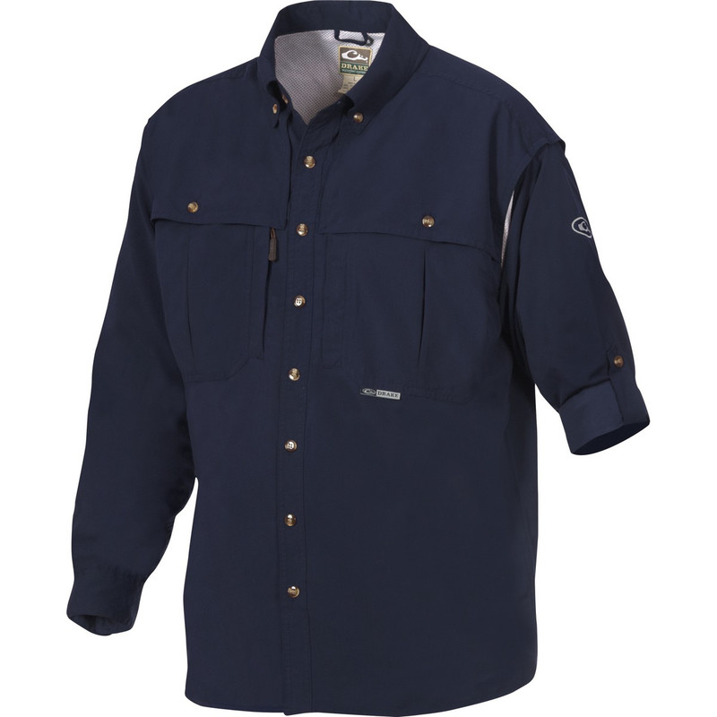 Drake Long Sleeve EST Vented Wingshooter's Hunting Shirt in Navy Color