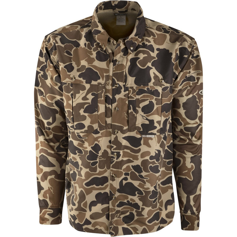 Drake Long Sleeve EST Vented Wingshooter's Hunting Shirt in Old School Camo Color