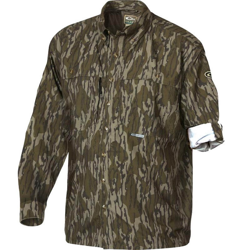 Drake Long Sleeve EST Vented Wingshooter's Hunting Shirt in Original Mossy Oak Bottomland