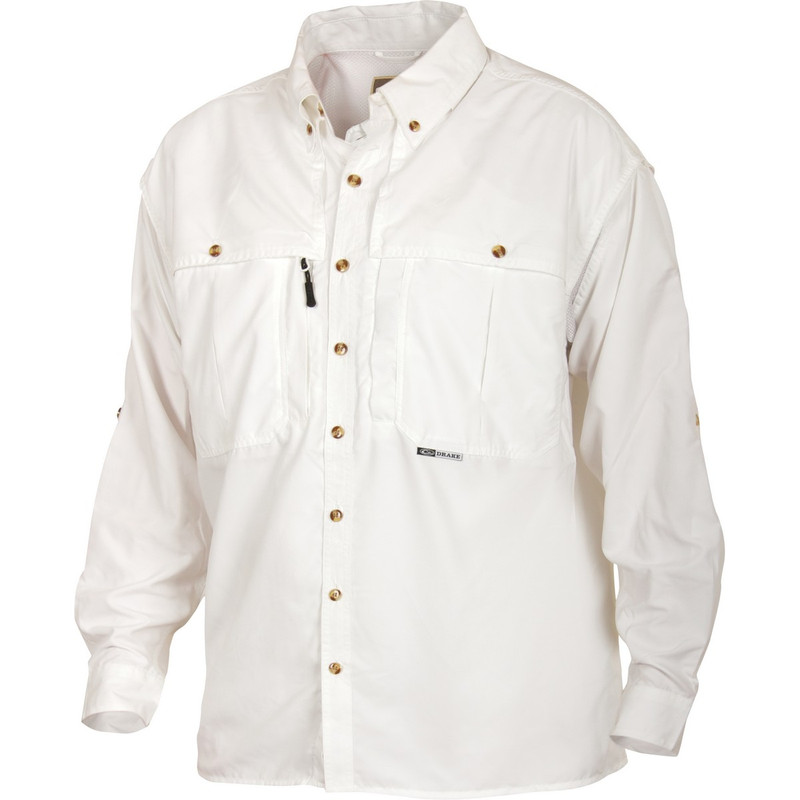 Drake Long Sleeve EST Vented Wingshooter's Hunting Shirt in White Color