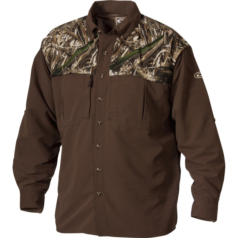 Drake Two-Tone Vented Wingshooter Long Sleeve Shirt in Realtree Max 5 Color