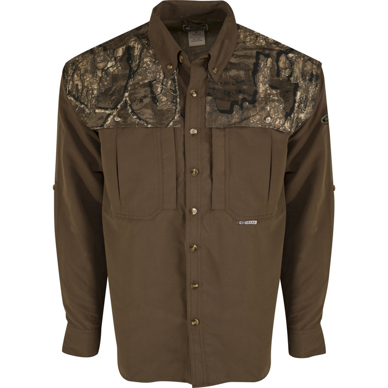 Drake Two-Tone Vented Wingshooter Long Sleeve Shirt in Realtree Timber Color