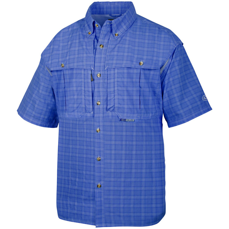 Drake Short Sleeve Wingshooter Plaid Sun Shirt in Cobalt Color