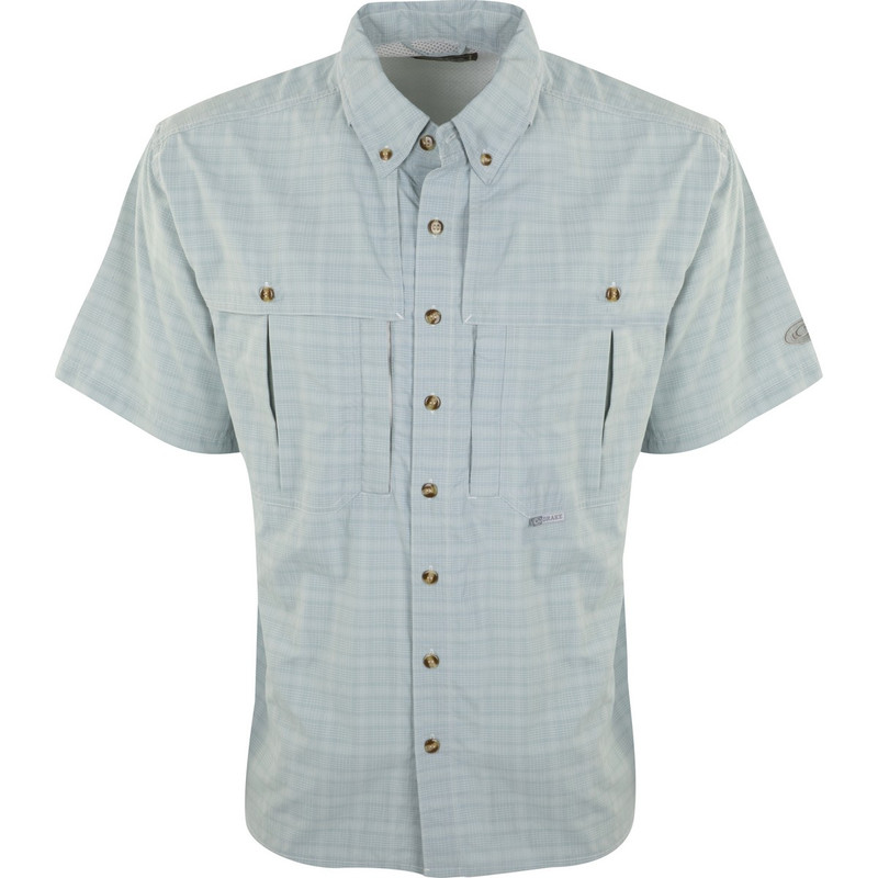 Drake Short Sleeve Wingshooter Plaid Sun Shirt in Ether Color