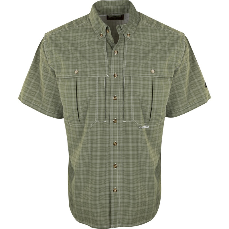 Drake Short Sleeve Wingshooter Plaid Sun Shirt in Vineyard Green Color