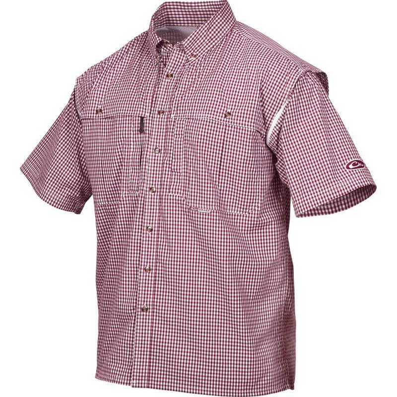 Drake Wingshooter Game Day Plaid Short Sleeve Shirt in Maroon Color