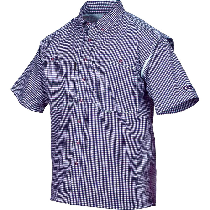 Drake Wingshooter Game Day Plaid Short Sleeve Shirt in Navy Color