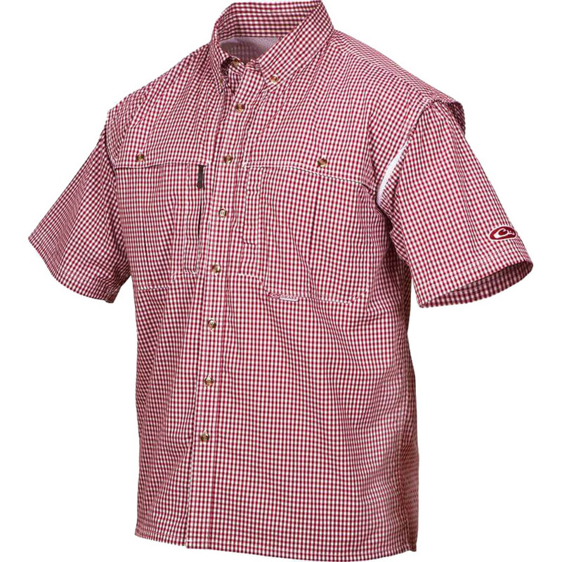 Drake wingshooter game day plaid short sleeve shirt for Drake fishing shirts