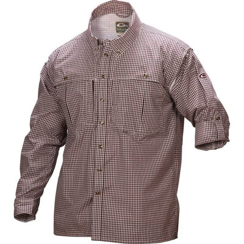 Drake Wingshooter's Game Day Plaid Long Sleeve Shirt in Maroon Color