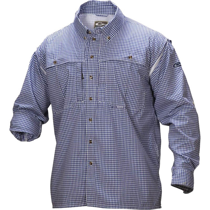 Drake Wingshooter's Game Day Plaid Long Sleeve Shirt in Navy Color
