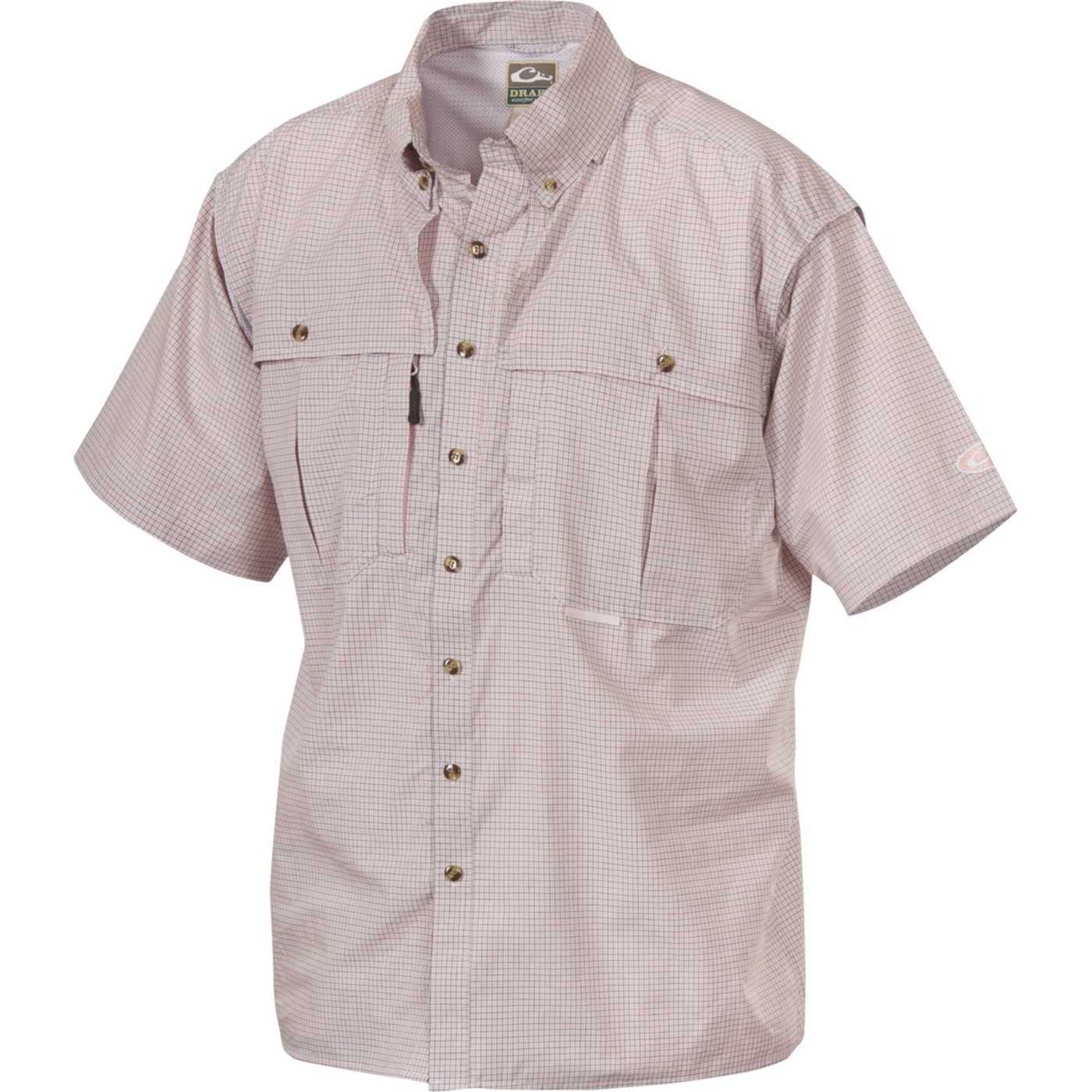 Drake Mens Wingshooter Micro Plaid Short Sleeve Shirt in Pink Color