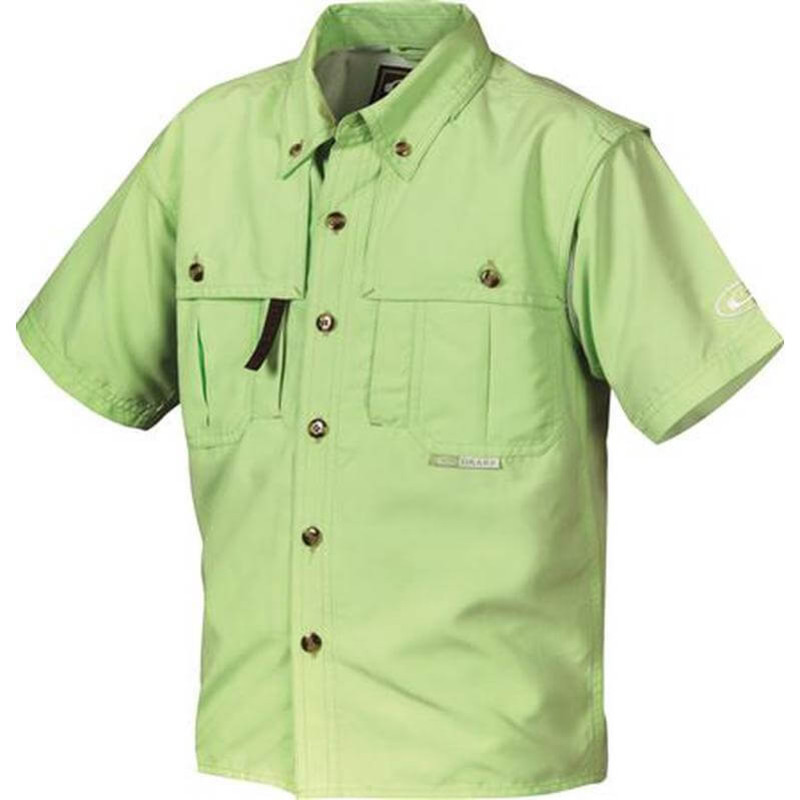 Drake Young Guns Wingshooter's Short Sleeve Shirt in Bright Green Color