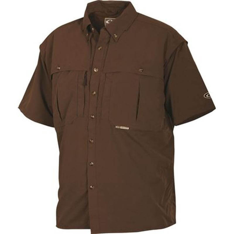 Drake Young Guns Wingshooter's Short Sleeve Shirt in Olive Color