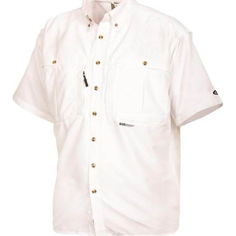 Drake Young Guns Wingshooter's Short Sleeve Shirt in White