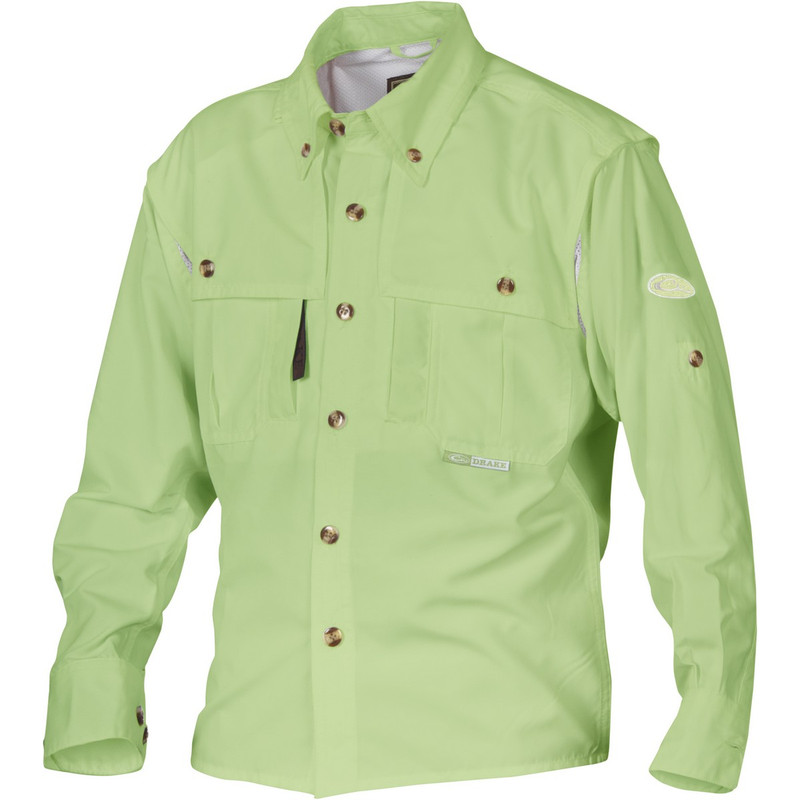 Drake Young Guns Wingshooter's Long Sleeve Shirt in Bright Green Color
