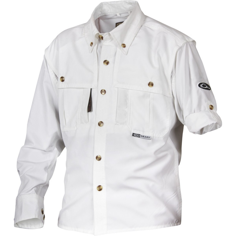Drake Young Guns Wingshooter's Long Sleeve Shirt in White Color