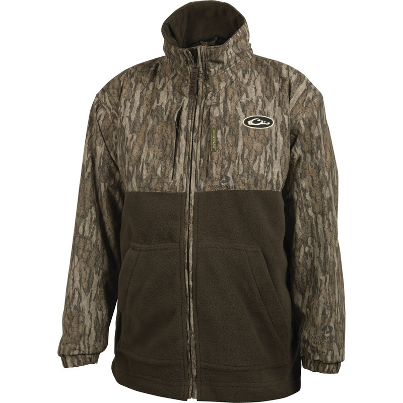 Drake Young Guns MST Youth Eqwader Full Zip in Mossy Oak Bottomland Color