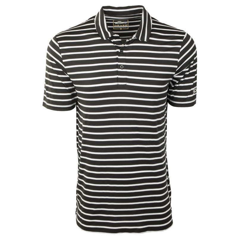 Drake Performance Stretch Striped Polo in Black White Color