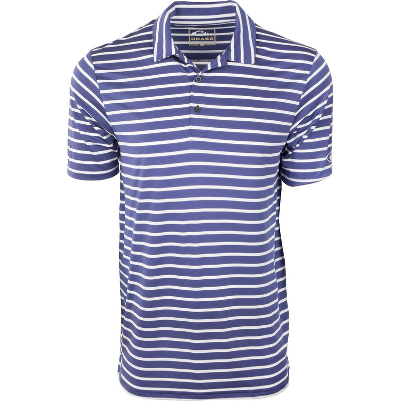 Drake Performance Stretch Striped Polo in Navy White Color