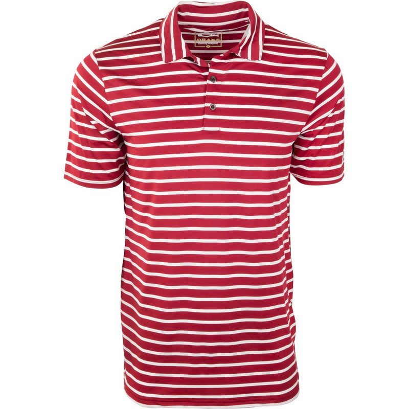 Drake Performance Stretch Striped Polo in Red White Color