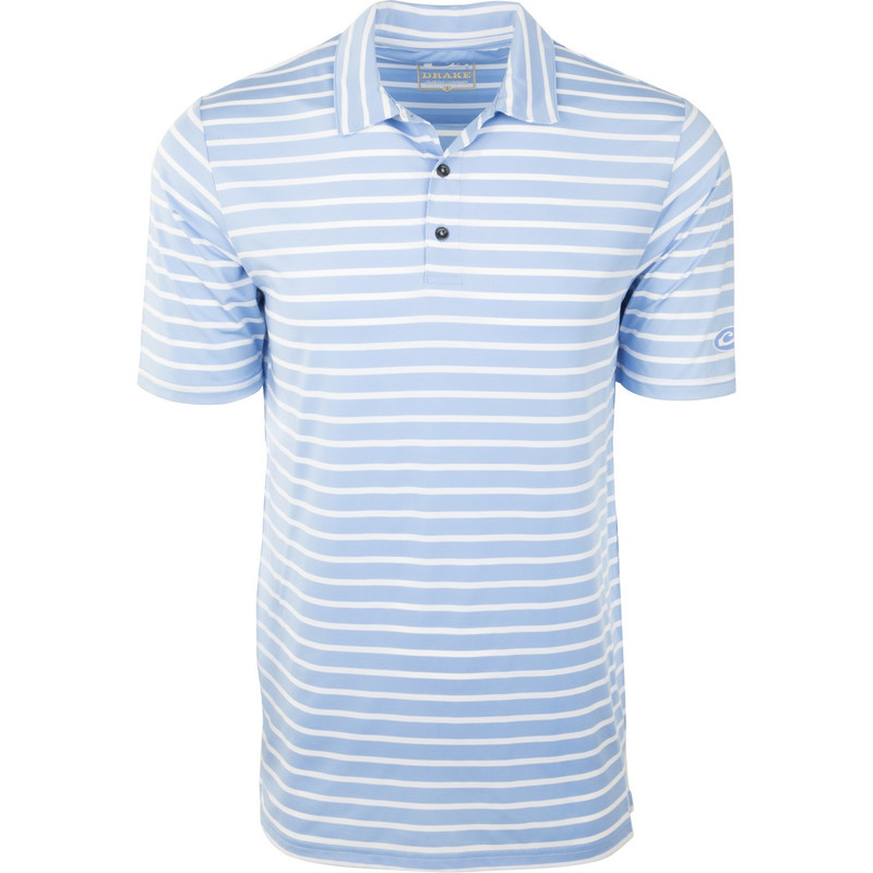Drake Performance Stretch Striped Polo in Sky Blue White Color
