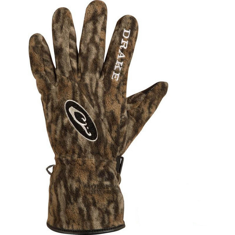 Drake MST WindStopper Fleece Shooter Gloves in Mossy Oak Bottomland Color