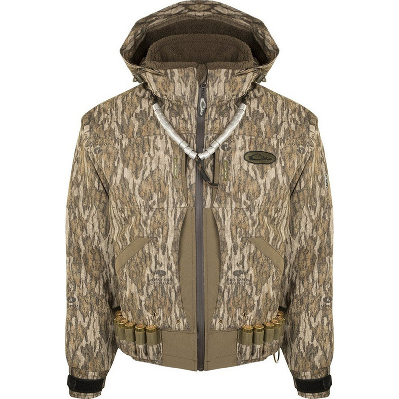 Drake Guardian Elite Flooded Timber Jacket Shell in Mossy Oak Bottomland Color