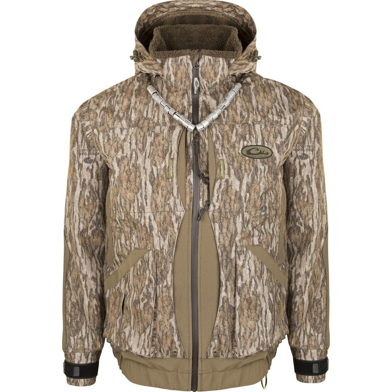 Drake Guardian Elite Boat & Blind Insulated Hunting Jacket in Mossy Oak Bottomland Color