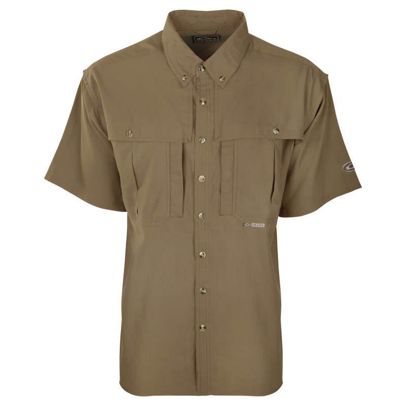 Drake Flyweight Wingshooter's Short Sleeve Shirt in Khaki Color