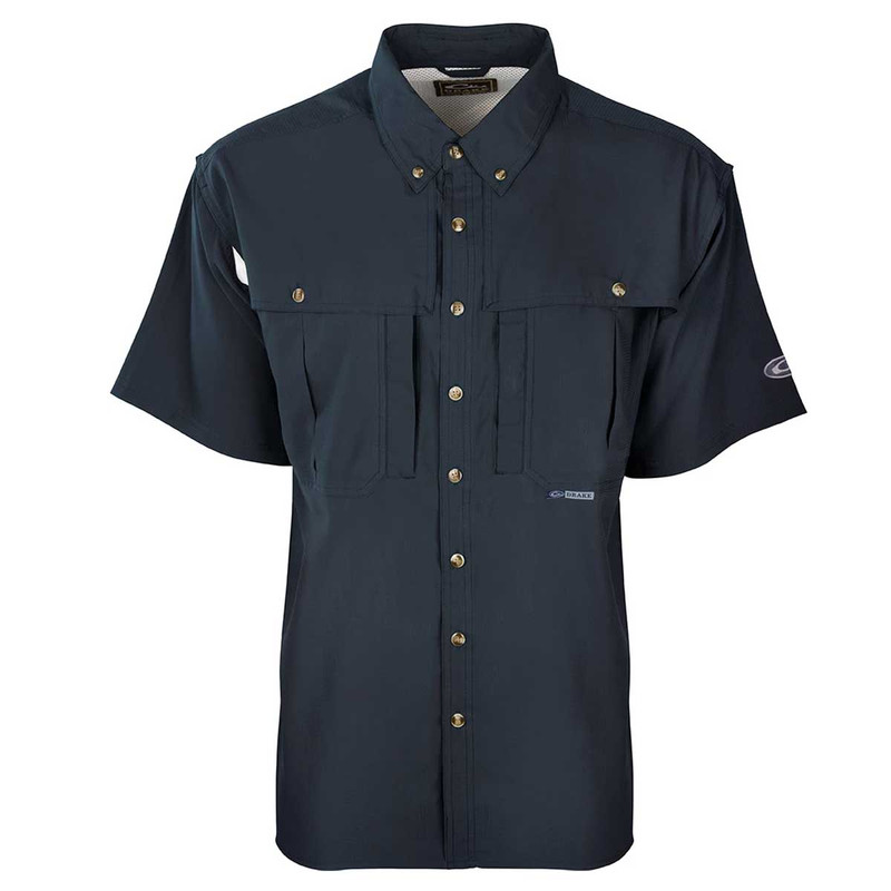 Drake Flyweight Wingshooter's Short Sleeve Shirt in Navy Color