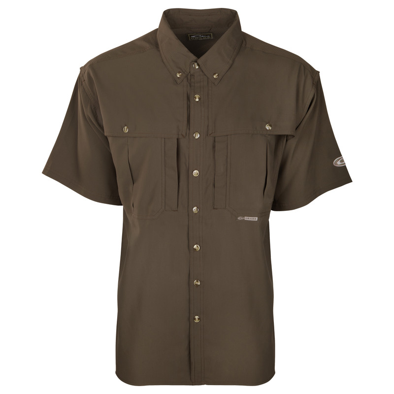Drake Flyweight Wingshooter's Short Sleeve Shirt in Olive Color