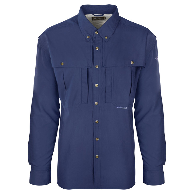 Drake Flyweight Wingshooter Long Sleeve Shirt in Cobalt Color