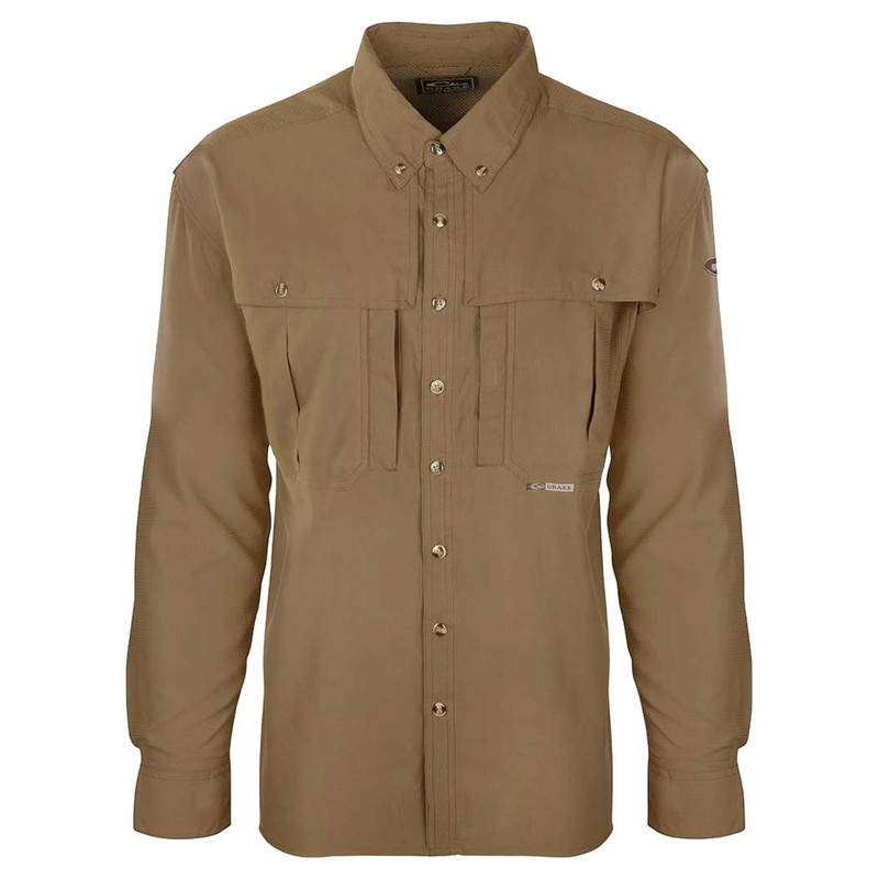Drake Flyweight Wingshooter Long Sleeve Shirt in Khaki Color