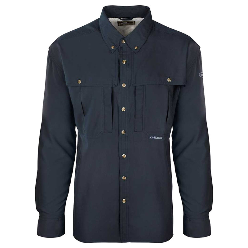 Drake Flyweight Wingshooter Long Sleeve Shirt in Navy Color