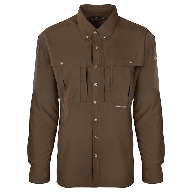 Drake Flyweight Wingshooter Long Sleeve Shirt in Olive Color