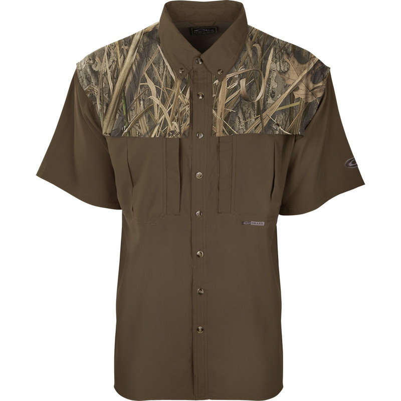 Drake EST Two Tone Flyweight Wingshooter Short Sleeve Shirt in Mossy Oak Blades Habitat Color