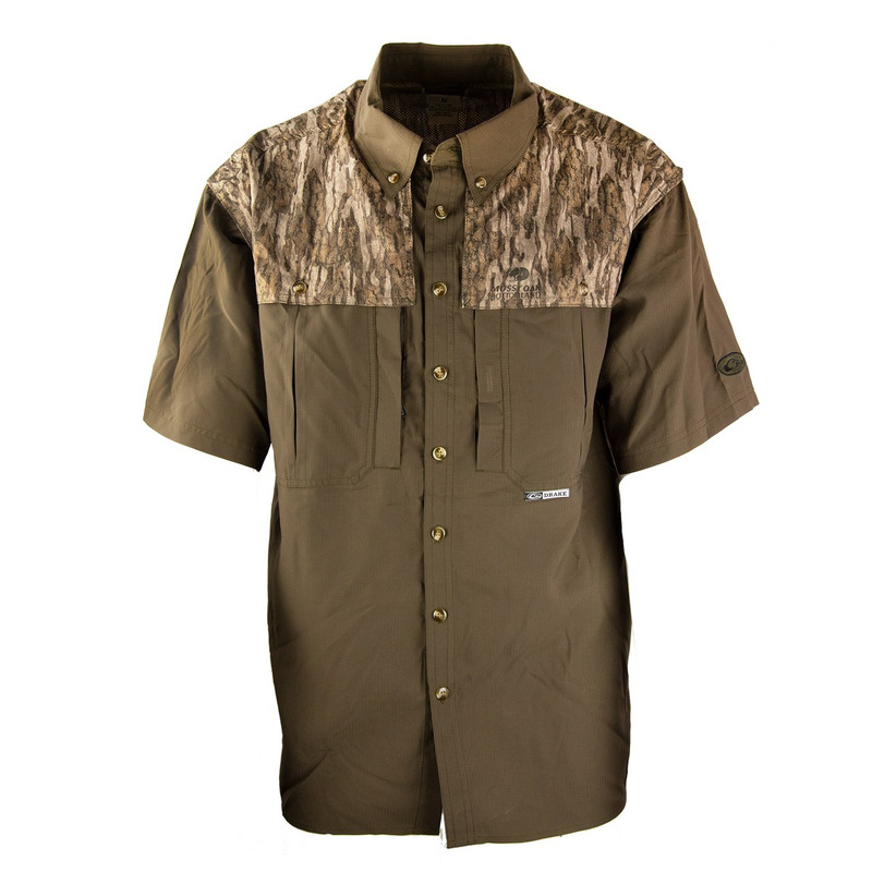 Drake EST Two Tone Flyweight Wingshooter Short Sleeve Shirt in Mossy Oak Bottomland Color