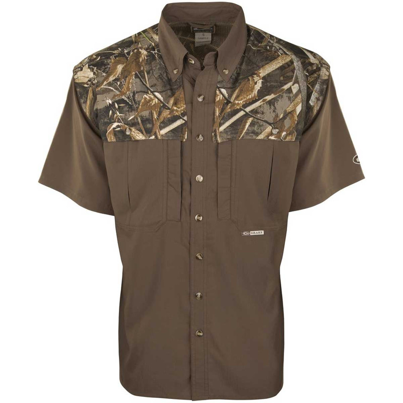 Drake EST Two Tone Flyweight Wingshooter Short Sleeve Shirt in Realtree Max 5 Color