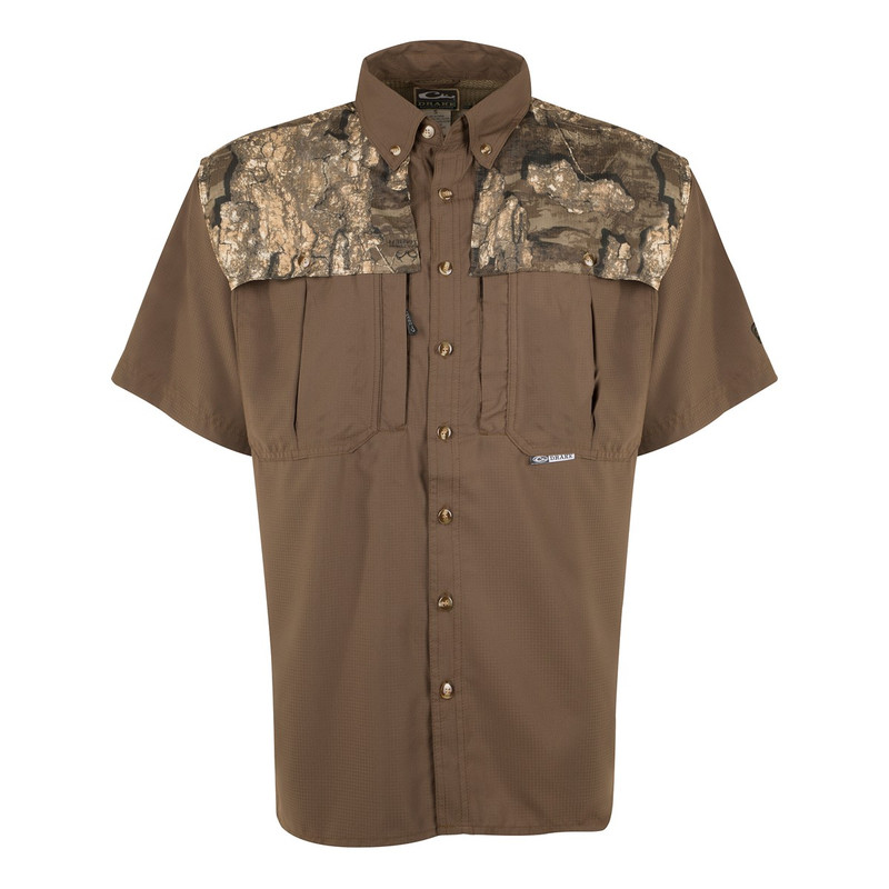 Drake EST Two Tone Flyweight Wingshooter Short Sleeve Shirt in Realtree Timber Color