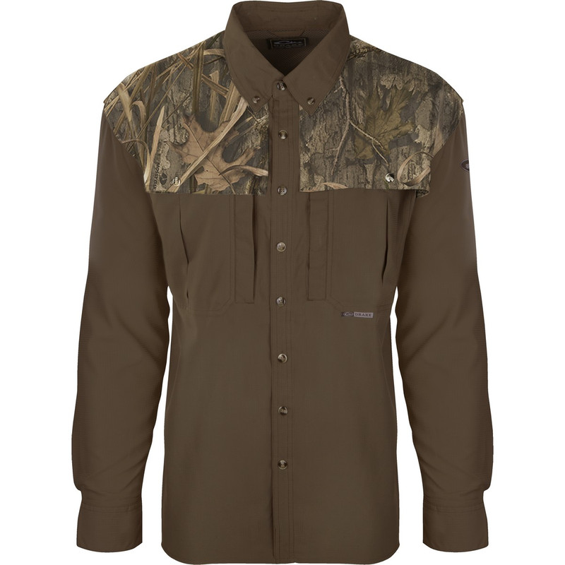 Drake EST Two Tone Flyweight Wingshooter Long Sleeve in Mossy Oak Blades Habitat Color