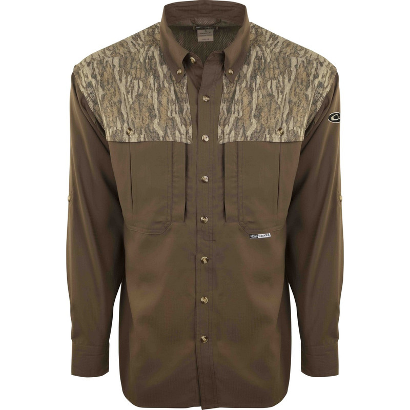 Drake EST Two Tone Flyweight Wingshooter Long Sleeve in Mossy Oak Bottomland Color
