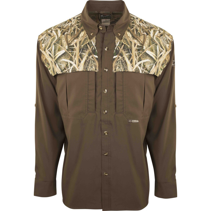 Drake EST Two Tone Flyweight Wingshooter Long Sleeve in Mossy Oak Shadow Grass Blades Color