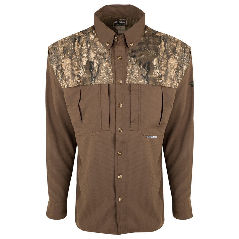 Drake EST Two Tone Flyweight Wingshooter Long Sleeve in Realtree Timber Color