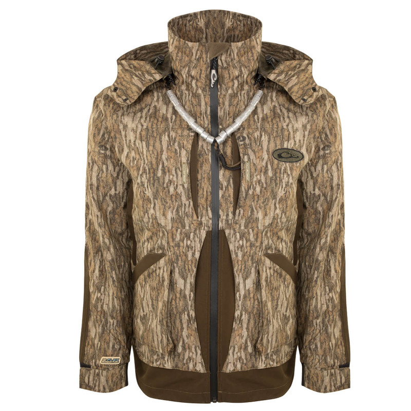 Drake Guardian Flex Full Zip Jacket - Shell Weight in Mossy Oak Bottomland Color