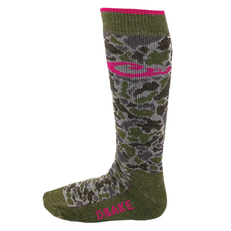 Drake Ladies Merino Wool Blend Sock in Camogrnfushia