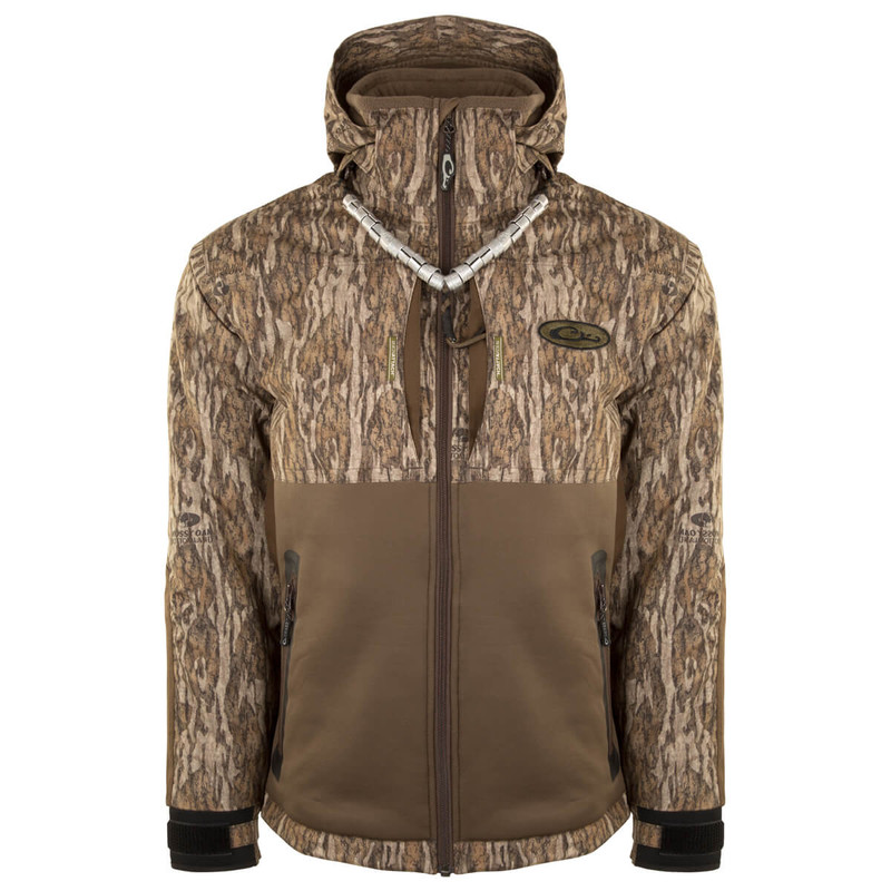 Drake Guardian Flex Full Zip Heavyweight Eqwader Wading Jacket with Hood in Mossy Oak Bottomland Color
