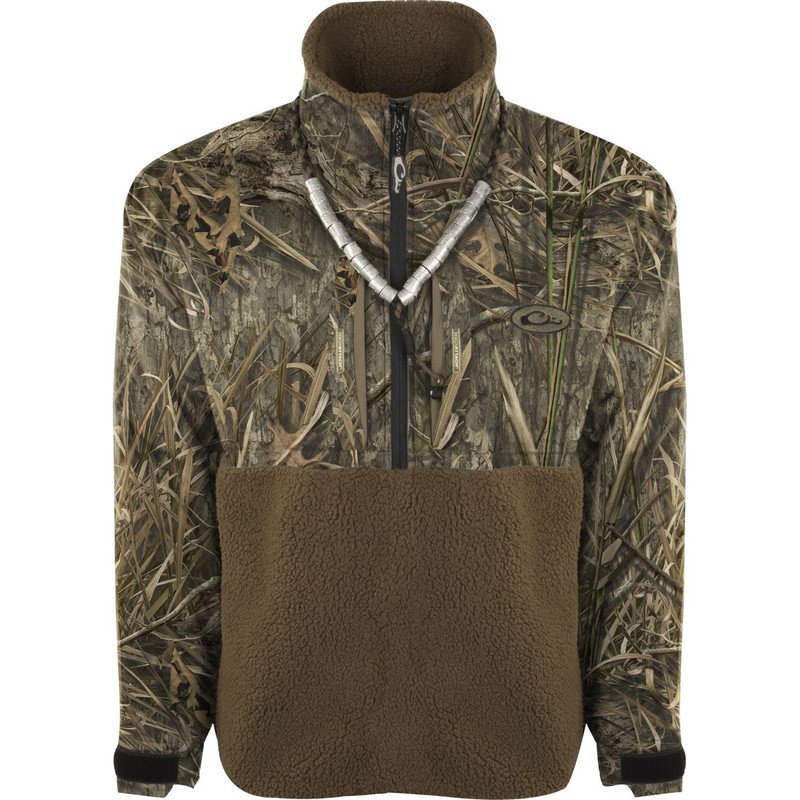 Drake MST Guardian Flex Sherpa Fleece Eqwader 1/4 Zip in Mossy Oak Blades Habitat Color