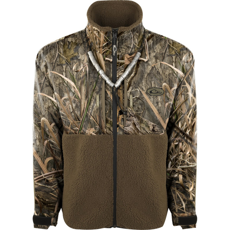Drake MST Guardian Flex Sherpa Fleece Eqwader Full Zip in Mossy Oak Blades Habitat Color