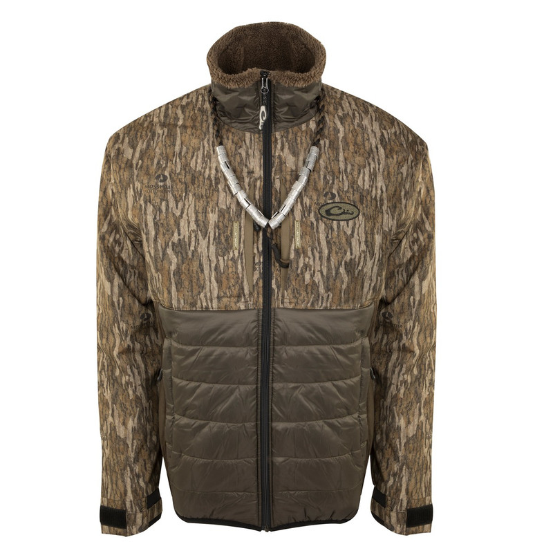 Drake LST Guardian Flex Double Down Eqwader Full Zip in Mossy Oak Bottomland Color