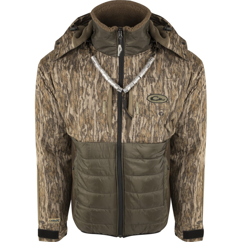 Drake LST Guardian Flex Double Down Eqwader Full Zip With Hood in Mossy Oak Bottomland Color
